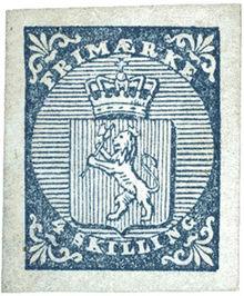 Första norska frimärket